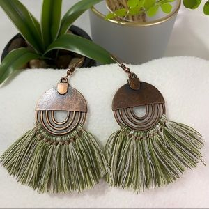 NEW Brass Geometric Green Fringe Tassel Earrings